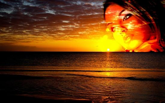 фотографии девушки и заката в фотошопе