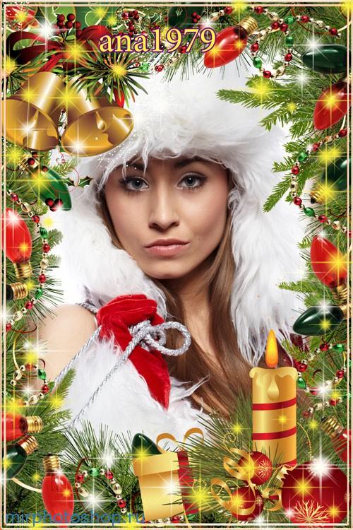 Рождественская и новогодняя рамочка для фотошопа